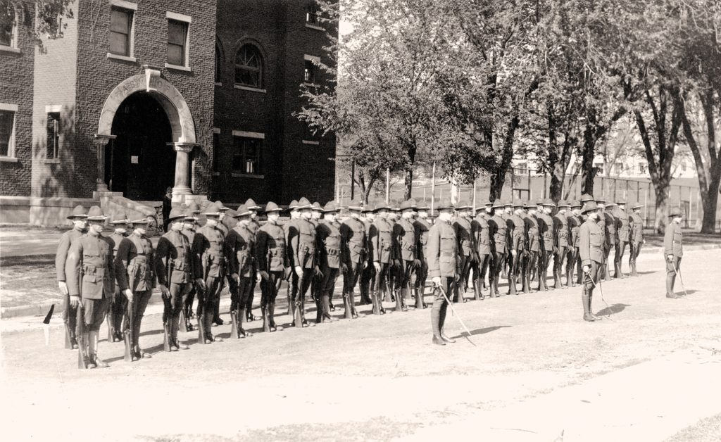 old photo of student cadets lined up in two rows