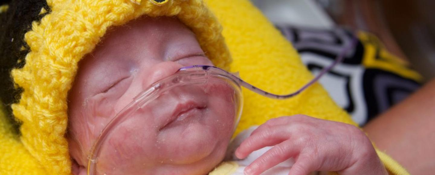 premature baby in a University of Iowa hat