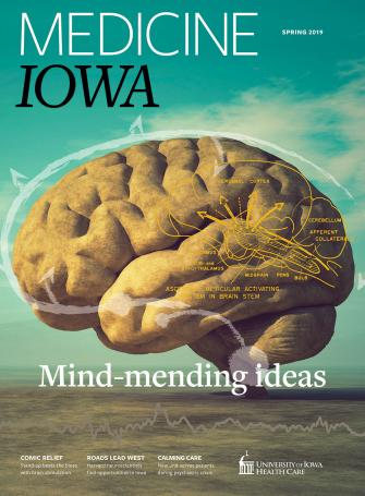 cover of Medicine Iowa Magazine with image of brain